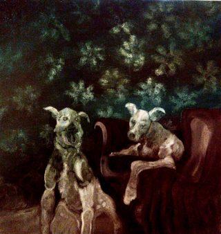 I cani della dama nera, olio su tela 100x100cm, 2019