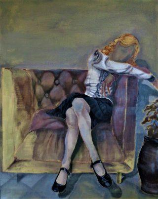 Noia e pensieri, acrilico e olio su tela 100x80cm, 2020